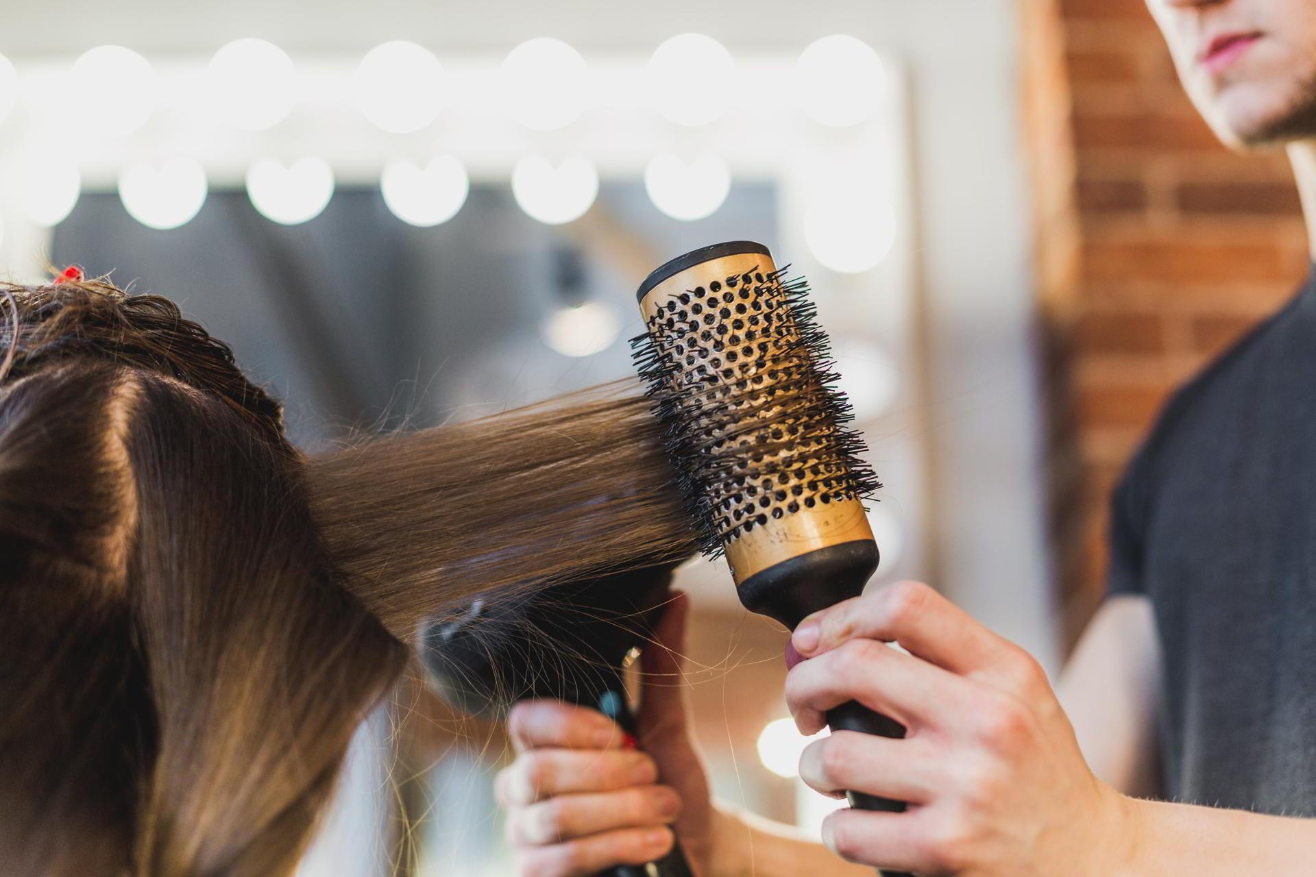 salon blow drying hair